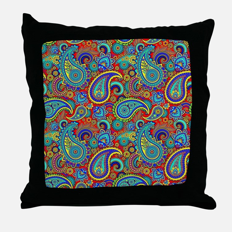 Red and blue paisley pillows red and blue paisley throw for Red and blue pillows