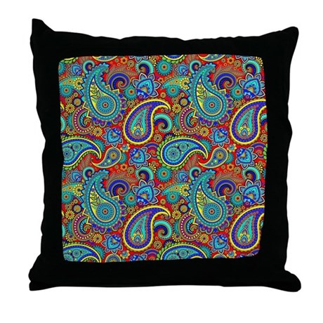red and blue paisley pillows  red and blue paisley throw