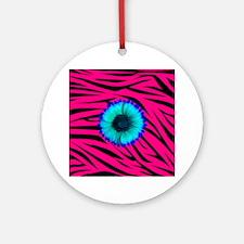 Bright Blue Flower on Hot Pink Zebra Ornament (Rou