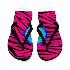 Bright Blue Flower on Hot Pink Zebra Flip Flops