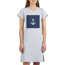 White and Navy Blue Anchor Women's Nightshirt