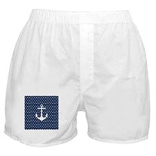 White and Navy Blue Anchor Boxer Shorts