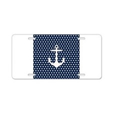 White and Navy Blue Anchor Aluminum License Plate