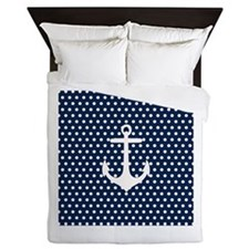 White and Navy Blue Anchor Queen Duvet