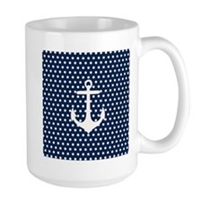 White and Navy Blue Anchor Mugs