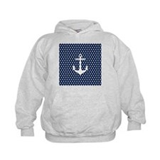 White and Navy Blue Anchor Hoodie
