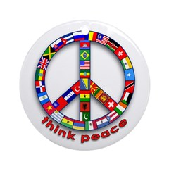 Think Peace with Flags Ornament (Round)