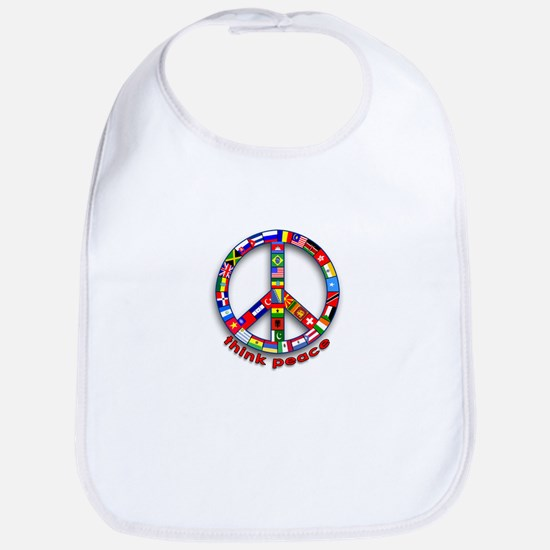 Think Peace with Flags Bib