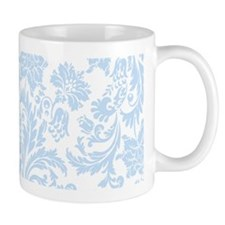 Sky Blue and White Damask Mugs
