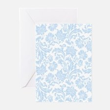 Sky Blue and White Damask Greeting Cards