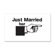 Just Married Her Rectangle Car Magnet