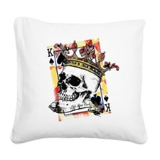 King of Spades Skull Square Canvas Pillow