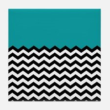 TEAL BLACK chevron blue Tile Coaster