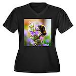 Humble Bumbl Women's Plus Size V-Neck Dark T-Shirt