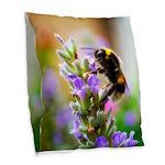 Humble Bumblebee Burlap Throw Pillow