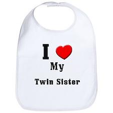 I Love Twin Sister Bib
