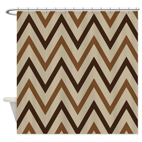 Chevron Zigzag Brown And Tan Shower Curtain By