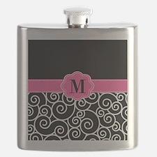 Pink Black Scroll Monogram Flask