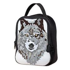 Funny Grey wolf Neoprene Lunch Bag