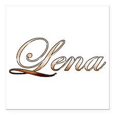 "Gold Lena Square Car Magnet 3"" x 3"""