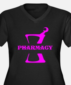 Pink Mortar Women's Plus Size V-Neck Dark T-Shirt