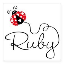 "Ladybug Ruby Square Car Magnet 3"" X 3"""