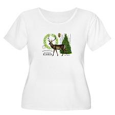 modern vintage woodland winter deer Plus Size T-Sh