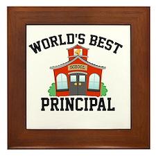 Worlds Best Principal School House Framed Tile