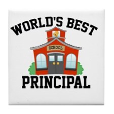 Worlds Best Principal School House Tile Coaster