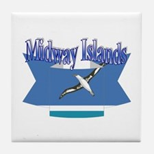 Midway Islands flag ribbon Tile Coaster