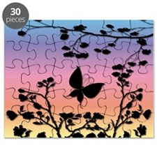 Butterfly on rainbow Gradient Puzzle