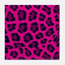 Cute Leopard hot pink Tile Coaster