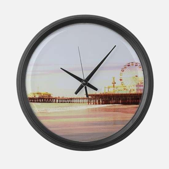 Cute Santa monica pier Large Wall Clock