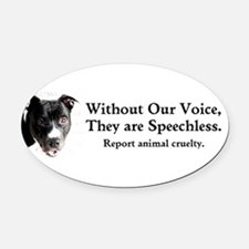 Without Our Voice Oval Car Magnet