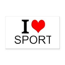 I Love Sports Rectangle Car Magnet