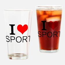 I Love Sports Drinking Glass
