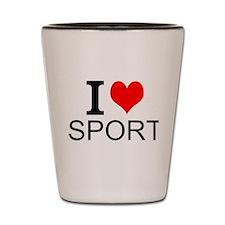 I Love Sports Shot Glass