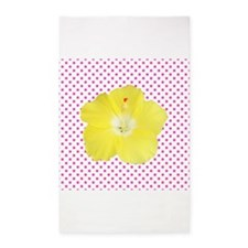 Yellow Hibiscus on Pink Polka Dots 3'x5' Area Rug