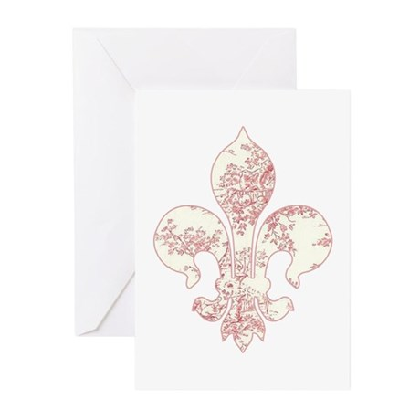 Fleur de lis Pink Toile Greeting Cards (Package of
