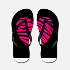 Hot Pink and Black Zebra Heart Flip Flops