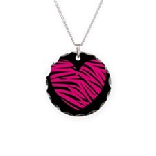 Hot Pink and Black Zebra Heart Necklace