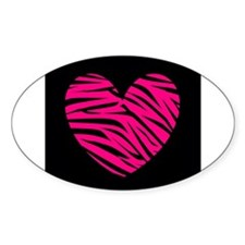 Hot Pink and Black Zebra Heart Decal