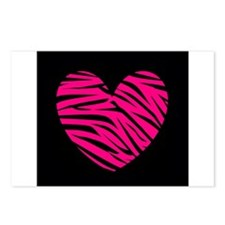 Hot Pink and Black Zebra Heart Postcards (Package