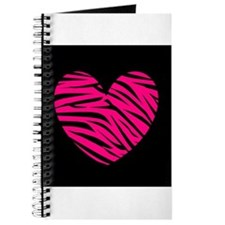 Hot Pink and Black Zebra Heart Journal