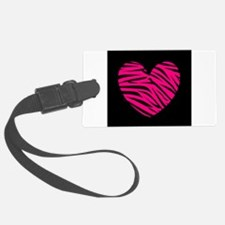 Hot Pink and Black Zebra Heart Luggage Tag