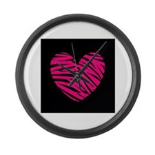 Hot Pink and Black Zebra Heart Large Wall Clock