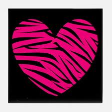 Hot Pink and Black Zebra Heart Tile Coaster