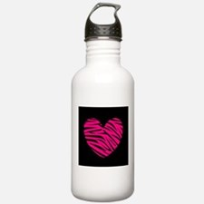 Hot Pink and Black Zebra Heart Water Bottle