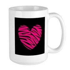 Hot Pink and Black Zebra Heart Mugs