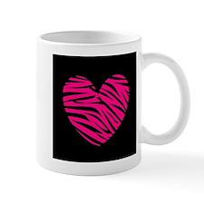Hot Pink and Black Zebra Heart Mugs